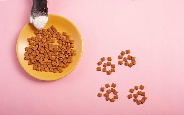 Cibo per gatti sfondo rosa