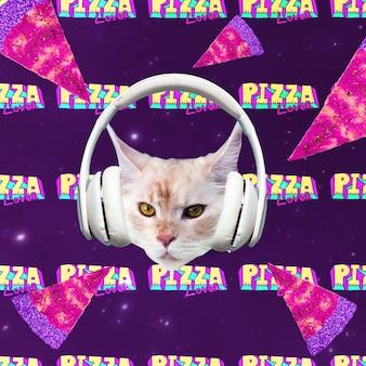 Gatto amante della pizza. spazio pizza. collage di arte contemporanea. divertente progetto di fast food