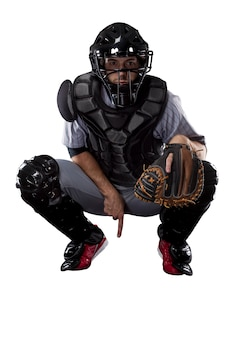 Giocatore di baseball catcher ,.