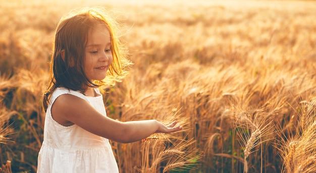 Ragazza caucasica in vestito bianco che cammina in un campo di grano e tocca con le mani i semi durante un tramonto