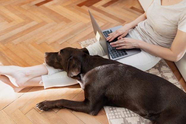 Donna caucasica che lavora a casa sul computer portatile seduta sul pavimento