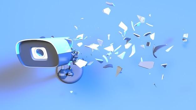 Telecamera cctv in luce al neon blu che cade in piccole parti, illustrazione 3d