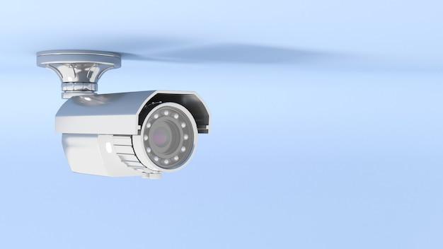 Telecamera cctv in primo piano di illuminazione al neon blu, illustrazione 3d