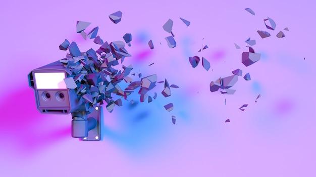 Telecamera cctv in luce al neon viola cade in pezzi, illustrazione 3d
