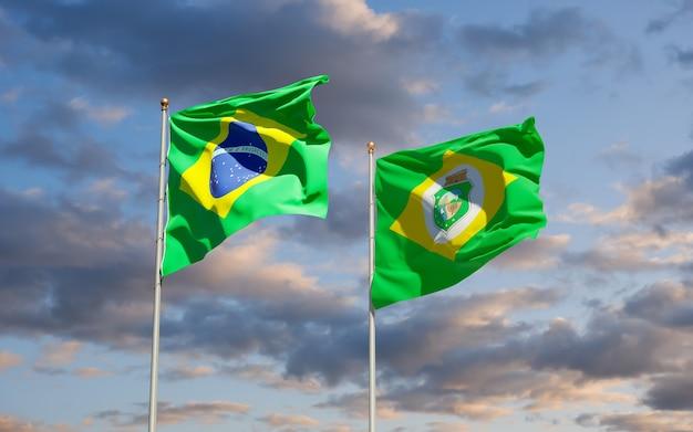 Bandiera di stato ceara brasile. grafica 3d