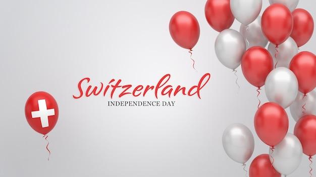 Bandiera di celebrazione con palloncini nei colori della bandiera svizzera.