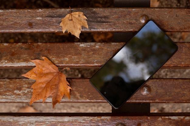 Telefono cellulare su una panca di legno all'aperto con foglie autunnali accanto