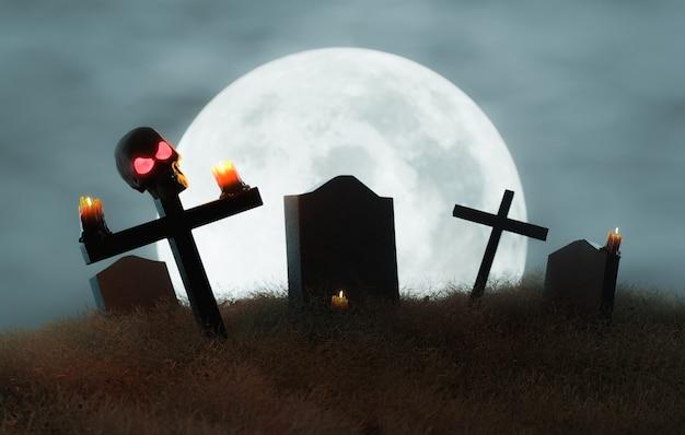 Cimitero con un teschio su una croce