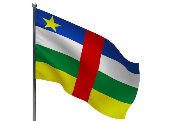 Bandiera della repubblica centrafricana in pole. pennone in metallo. bandiera nazionale della repubblica centrafricana 3d'illustrazione su bianco