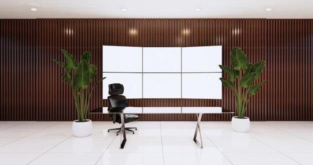 Progettazione dell'ufficio del ceo con il grande monitor della tv sulla stanza della parete di legno, sul tavolo e sulla sedia del capo. rendering 3d