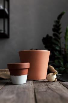 Vasi in ceramica su un vecchio tavolo in legno grigio, bulbi di tulipani. foto di alta qualità