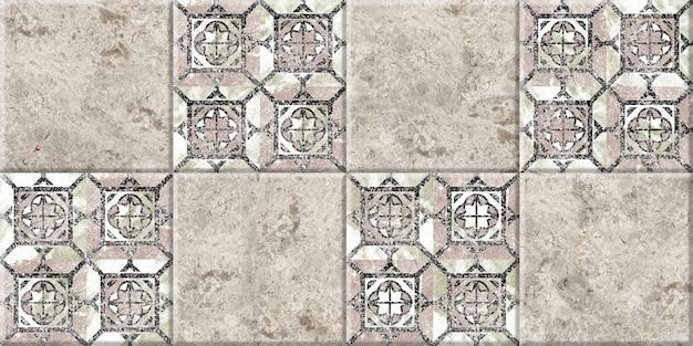 Piastrelle in ceramica con trama e motivo in marmo naturale.