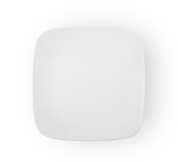 Piatto bianco in ceramica isolato vista dall'alto su sfondo bianco