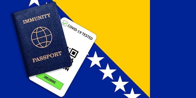 Certificato per viaggiare dopo una pandemia per le persone che hanno avuto il coronavirus o fatto il vaccino e il risultato del test per covid-19 sulla bandiera della bosnia ed erzegovina