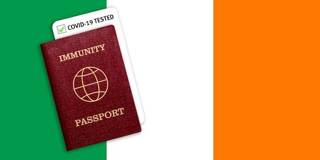 Certificato per viaggiare dopo una pandemia per le persone che hanno avuto il coronavirus o fatto il vaccino e il risultato del test per covid-19 sulla bandiera dell'irlanda