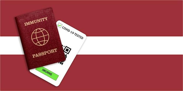 Certificato per viaggiare dopo una pandemia per le persone che hanno avuto il coronavirus o fatto il vaccino e il risultato del test per covid-19 sulla bandiera della lettonia
