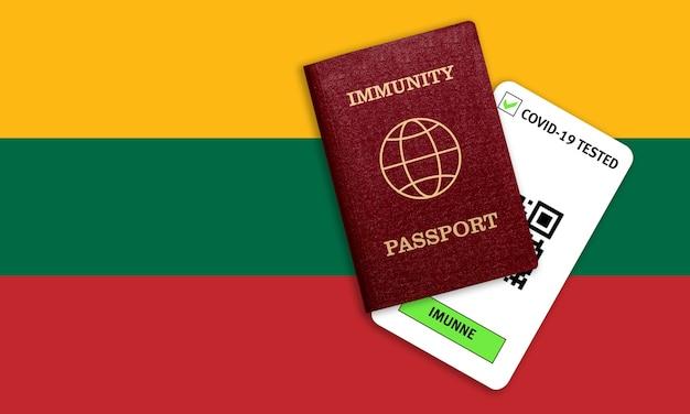 Certificato per viaggiare dopo una pandemia per le persone che hanno avuto il coronavirus o fatto il vaccino e il risultato del test per covid-19 sulla bandiera della lituania