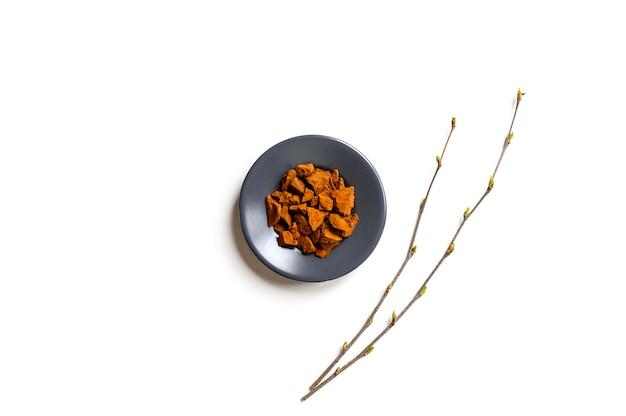 Fungo chaga. composizione di piccoli pezzi secchi di betulla fungo chaga in un piatto rotondo e ramoscelli di betulla isolato su uno sfondo bianco.