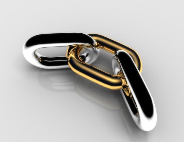 Concetto di catena con collegamento dorato .3d illustrazione