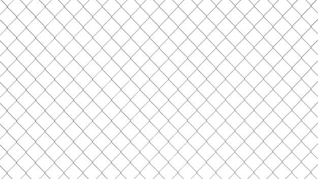 Modello di recinzione di collegamento a catena. carta da parati in stile industriale. trama geometrica realistica. elemento grafico per corporate identity, siti web, catalogo. parete del filo di acciaio isolata su bianco. illustrazione 3d