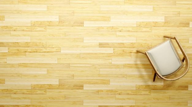 Sedia sulla vista superiore del pavimento di legno per materiale illustrativo - rappresentazione 3d