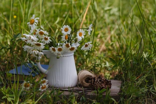 La camomilla fiorisce sul libro sulla tavola in parco