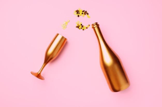 Bottiglia di champagne con coriandoli piatti laici sullo sfondo di natale
