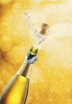 Bottiglia di champagne con tappo di sughero aperto