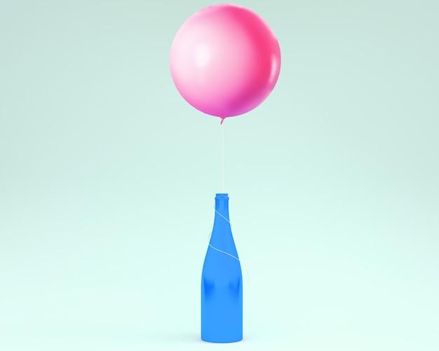 Bottiglia di champagne con palloncino rosa galleggiante su sfondo blu pastello. concezione minima idea