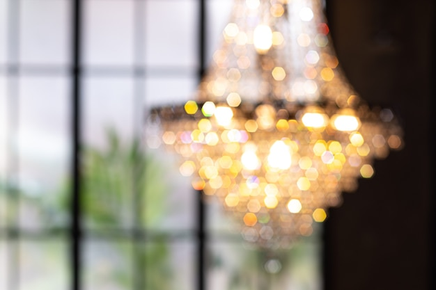 Lampadario con bokeh. luci per lampadari sospesi