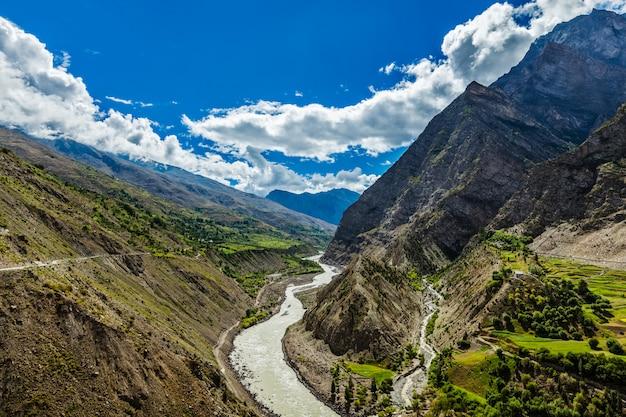 Il fiume chandra in himalaya