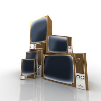 Mucchio caotico di televisori vintage