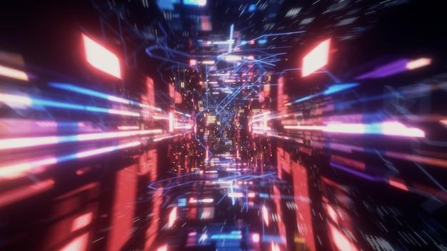 Tunnel spaziale futuristico tecnologico caotico