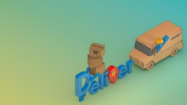 Carattere di consegna del personaggio dei cartoni animati con furgone del camion e molte cassette dei pacchi.