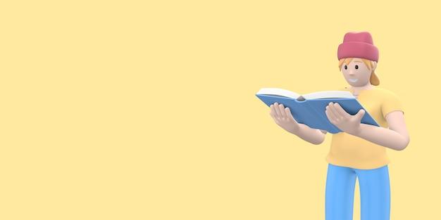 Carattere giovane ragazza hipster in un cappello un fan della letteratura sta leggendo un libro.