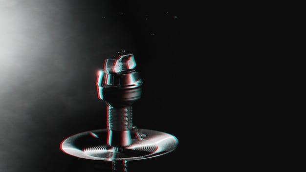Carboncini in una ciotola di narghilè con fumo con effetto di realtà virtuale glitch 3d