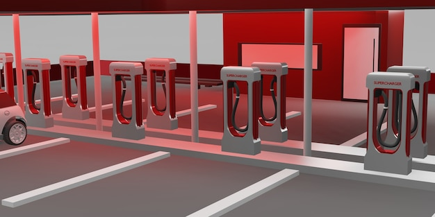 Stazione di ricarica batteria per auto elettrica nuova tecnologia energetica concetto 3d illustrazione