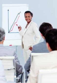 Donna di affari carismatica che fa una presentazione