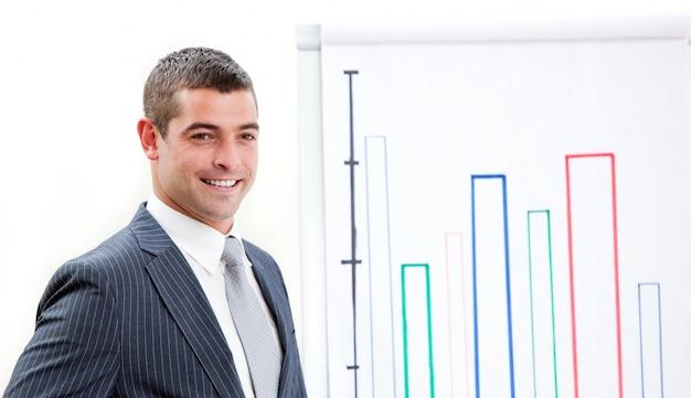 Giovane uomo d'affari carismatico che fa una presentazione
