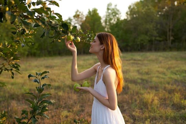 Affascinante signora in un abito bianco con mele vicino a un albero su un prato in montagna.
