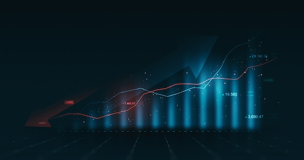 Grafico del diagramma grafico dei dati aziendali e informazioni sul rapporto grafico finanziario di crescita su sfondo finanziario futuristico con modello infografico economia di borsa
