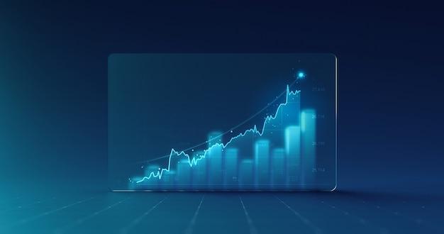 Grafico del diagramma del grafico dei dati aziendali e informazioni del rapporto grafico finanziario di crescita su sfondo di visualizzazione dello schermo di vetro di finanza futuristica con modello di infografica economia di borsa.