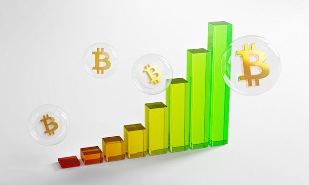 Grafico a bolle di vetro bitcoin up trend parabolico rendering 3d