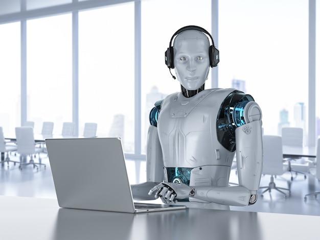 Chat bot concept con rendering 3d robot umanoide con cuffia funziona su computer notebook