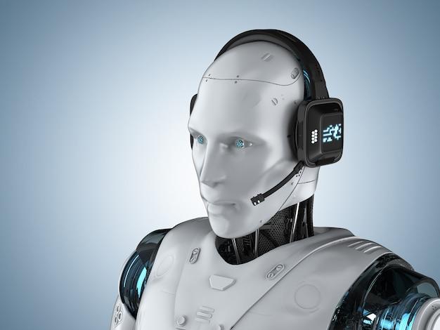 Chat bot concept con rendering 3d robot umanoide con auricolare
