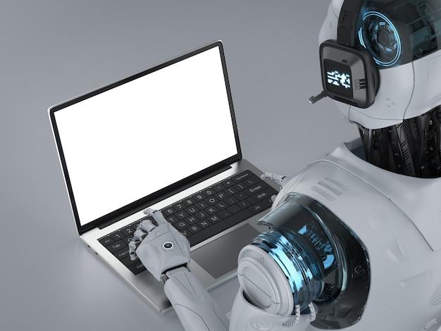 Il concetto di chat bot con robot con cuffia funziona sul notebook del computer