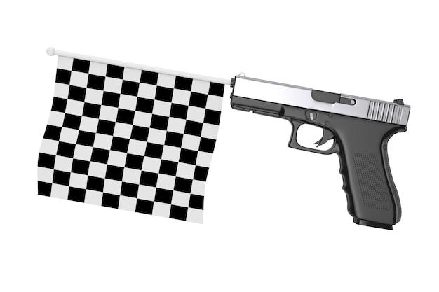 Bandiera di inizio e fine a scacchi che esce dalla pistola moderna su sfondo bianco. rendering 3d