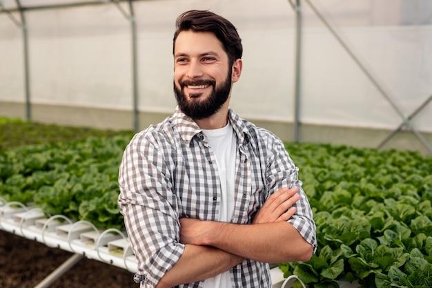 Allegro uomo barbuto in camicia a scacchi incrociando le braccia e guardando lontano con un sorriso mentre si trovava vicino al tavolo idroponico con piante in serra moderna