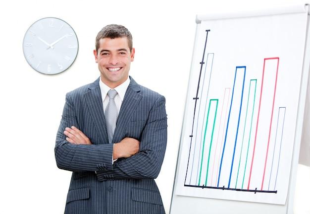 Uomo d'affari allegro con le braccia piegate facendo una presentazione