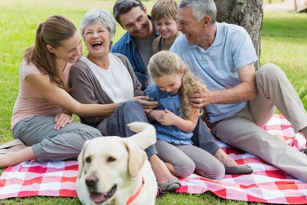 Famiglia allargata allegra che si siede sulla coperta di picnic al parco